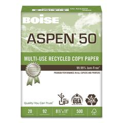 ASPEN 50 Multi-Use Recycled Paper, 92 Bright, 20lb, 8 1/2 x 11, White, 5000/CT