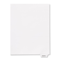 "Kleer-Fax 80000 Series Legal Index Dividers, Bottom Tab, Printed ""Exhibit O"", 25/Pack"