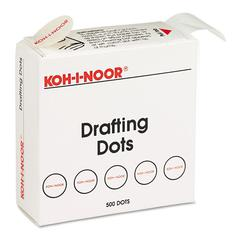 Adhesive Drafting Dots w/Dispenser, 7/8in dia, White, 500/Box