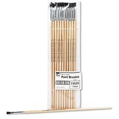 Charles Leonard Long Handle Easel Brush, Size 4, Natural Bristle, Flat, 12/Pack