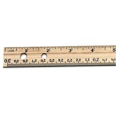 "Charles Leonard Economical Beveled Wood Ruler w/Single Metal Edge, 12"", Natural, 36/Box"