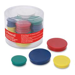 "High-Intensity Assorted Magnets, 3/4"", 1 1/4"" & 1 1/2"" dia, Asst Colors, 30/PK"