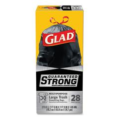 Drawstring Large Trash Bags, 30 x 33, 30gal, 1.05mil, Black, 15/Box