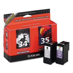 Lexmark 18C0535 (34; 35) High-Yield, 475 Page-Yield, 2/Pack, Waterproof BLK/Photo BLK