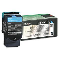 Lexmark C544X1CG Extra High-Yield Toner, 4000 Page-Yield, Cyan