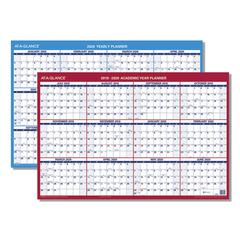 Horizontal Erasable Wall Planner, 36 x 24, Red - 2020, Blue/White - 2019-2020