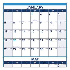 Horizontal Erasable Wall Planner, 36 x 24, Blue/White, 2020
