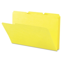 Legacy Colored File Folder, 1/3 Tab, Assorted, Legal, Yellow, 100/Box