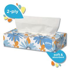 White Facial Tissue, 2-Ply, White, Pop-Up Box, 100 Sheets/Box, 36 Boxes/Carton