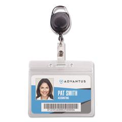 Resealable ID Badge Holder, Cord Reel, Horizontal, 3 3/4 x 2 5/8, Clear, 10/Pack