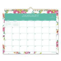Day Designer Wirebound Wall Calendar, 11 x 8 3/4, White Floral, 2020