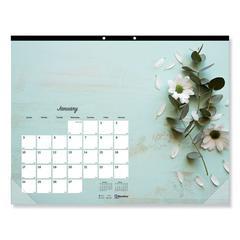 Romantic Monthly Desk Pad Calendar, 17 3/4 x 10 7/8, Blossoms, 2020
