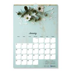 One Month Per Page Twin Wirebound Wall Calendar, Romantic, 12 x 17, 2020