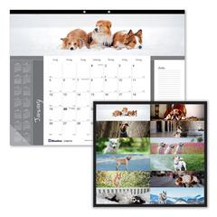 Pets Collection Monthly Desk Pad, 22 x 17, Puppies, 2020