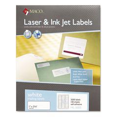 Maco White Laser/Inkjet Shipping & Address Labels, 1 x 2 5/8, 3000/Box