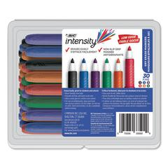 Intensity Low Odor Dry Erase Marker, Fine Bullet Tip, Assorted Colors, 30/Set