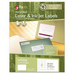 Maco Recycled Laser/Inkjet White Name Badge Labels, 3 3/8 x 2 1/3, White, 400/Box