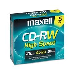 Maxell CD-RW Discs, 700MB/80min, 12x, w/Jewel Cases, Gold, 5/Pack