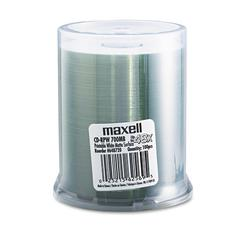 Maxell CD-R Discs, 700MB/80 min, 48x, Spindle, Printable Matte White, 100/Pack