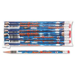 Moon Products Decorated Wood Pencil, Super Reader, HB #2, Blue, Dozen