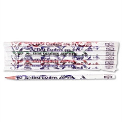 Moon Products Decorated Wood Pencil, First Graders Are #1, #2, White, Dozen