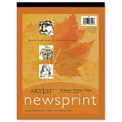 Pacon Art1st Newsprint Pads, 30 lbs., 9 x 12, White, 50 Sheets/Pad
