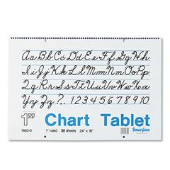 Chart Tablets w/Cursive Cover, Ruled, 24 x 16, White, 30 Sheets