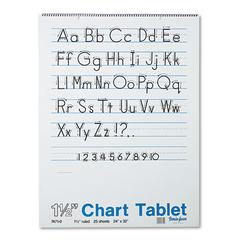Pacon Chart Tablets w/Manuscript Cover, Ruled, 24 x 32, White, 25 Sheets