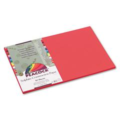 Peacock Sulphite Construction Paper, 76 lbs., 12 x 18, Red, 50 Sheets/Pack