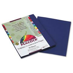 Pacon Peacock Sulphite Construction Paper, 76 lbs., 9 x 12, Dark Blue, 50 Sheets/Pack
