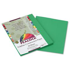 Peacock Sulphite Construction Paper, 76 lbs, 9 x 12, Holiday Green, 50 Shts/Pk