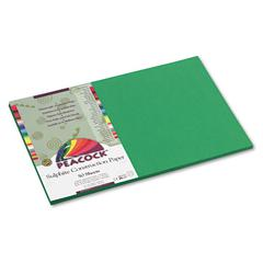 Peacock Sulphite Construction Paper, 76 lb, 12 x 18, Holiday Green, 50 Shts/Pk