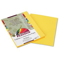 Pacon Peacock Sulphite Construction Paper, 76 lbs., 9 x 12, Yellow, 50 Sheets/Pack