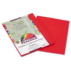 Peacock Sulphite Construction Paper, 76 lbs, 9 x 12, Holiday Red, 50 Sheets/Pack