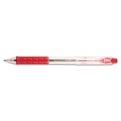 R.S.V.P. RT Retractable Ballpoint Pen, 1mm, Clear Barrel, Red Ink, Dozen