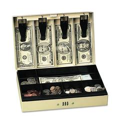 PM Company Securit Steel Cash Box w/6 Compartments, Three-Number Combination Lock, Pebble Beige
