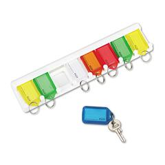 SecurIT Color-Coded Key Tag Rack, 8-Key, Plastic, White, 10 1/2 x 1/4 x 2 1/2