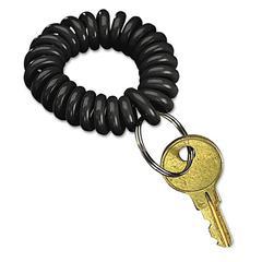SecurIT Wrist Key Coil Wearable Key Organizer, Flexible Coil, Black