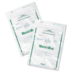 Plastic Money Bags, Tamper Evident, 9 x 12, White, 50/Pack
