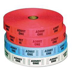 Company Admit-One Ticket Multi-Pack, 4 Rolls, 2 Red, 1 Blue, 1 White, 2000/Roll