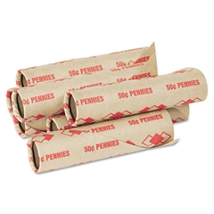 PM Company Preformed Tubular Coin Wrappers, Pennies, $.50, 1000 Wrappers/Carton