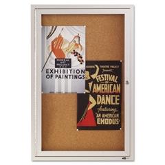 Quartet Enclosed Bulletin Board, Natural Cork/Fiberboard, 24 x 36, Silver Aluminum Frame