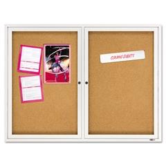 Quartet Enclosed Bulletin Board, Natural Cork/Fiberboard, 48 x 36, Silver Aluminum Frame