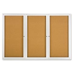 Quartet Enclosed Bulletin Board, Natural Cork/Fiberboard, 72 x 48, Silver Aluminum Frame