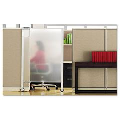 Quartet Premium Workstation Privacy Screen, 38w x 64d, Translucent Clear/Silver