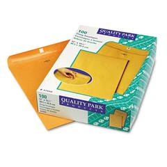 Quality Park Clasp Envelope, 12 x 15 1/2, 28lb, Brown Kraft, 100/Box