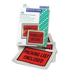 Quality Park Full-Print Self-Adhesive Packing List Envelope, Orange, 5 1/2 x 4 1/2, 100/Box