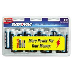 Rayovac High Energy Premium Alkaline Battery, D, 8/Pack