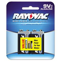 Rayovac High Energy Premium Alkaline Battery, 9V, 2/Pack