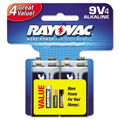 High Energy Premium Alkaline Battery, 9V, 4/Pack